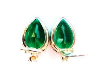 Vintage 50s Silver Tone Emerald Green Crystal Tear Drop Clip On