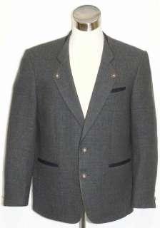 GERMAN Western BLUE WOOL TWEED Suit JACKET 52 46 L