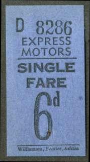 Express Motors Rhostryfan Wales bus ticket 6d UK