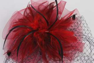 Red Hair Fascinator Hat Cap Headpiece Vintage Costume Makeup w/ Clip