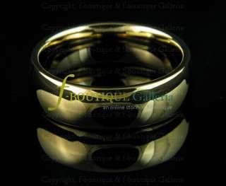 7MM TUNGSTEN CARBIDE GOLD TONE WEDDING BAND UNISEX RING