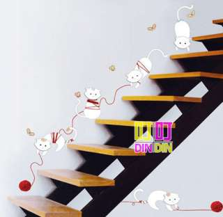 White Cats Playing Woolen Yarn Wall Room Door Stairs Print Decals