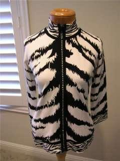 Belldini 101036 Animal print black/white mock neck cardigan sweater M