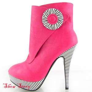 Pink Black White Stripe Platform Ankle Boots Au Sz 8.5