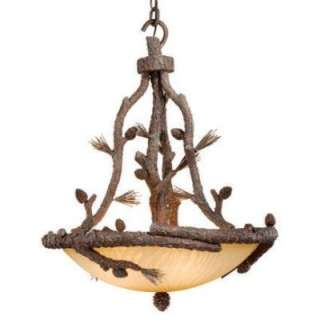 NEW 4 Light Rustic Pine Tree Pendant Lighting Fixture, Amber Glass