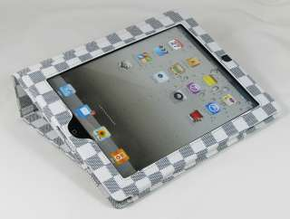 Ipad 2 Stylish Magnetic Stand Smart Leather Case Cover Checker   White