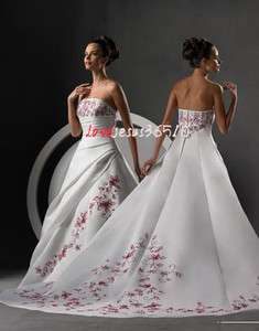 Storage A line Strapless white Wedding Dress Bridal gown Ball lace up