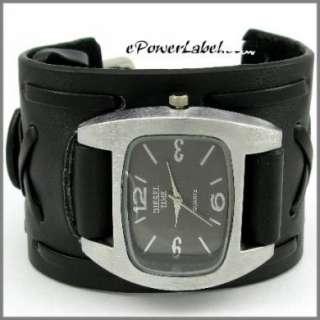 P353 Rock Steel Men/Lady WATCH Cross Leather Wide Cuff