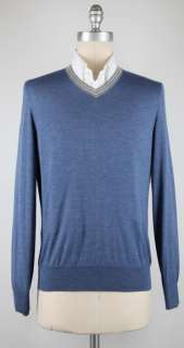 New $875 Brunello Cucinelli Blue Sweater XX Large/56