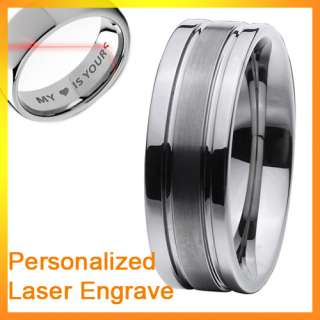 8mm New Mens Grooved Tungsten Carbide Ring Wedding Band