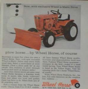 1965 Wheel Horse Tractor Lawnmower/Plow Print /Ad