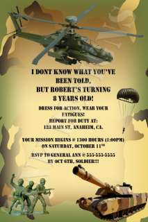 Army Camo camouflage Armed forces tank birthday party invitation favor