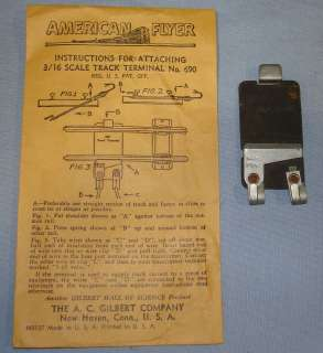 Gilbert American Flyer Lines 3 16 Scale Trains Track Terminal #690