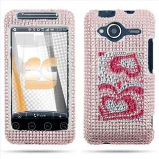 Pink Heart Bling Hard Case Cover for HTC EVO Shift 4G