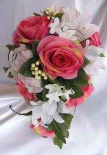 10 pc Bouquet wedding flowers decoration D.PINK SPRING