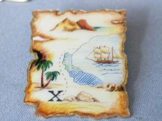 Sail Boat Pin Badge Pirate Treasure Map Pin Badge
