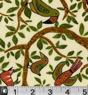 SAFARI SO GOOD Jungle BIRD P & B Textiles fabric CREAM