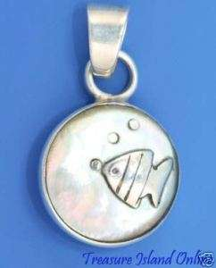 STERLING SILVER FISH PENDANT with GREY ABALONE SHELL