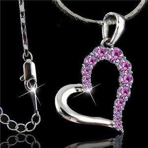 dazzling 18K WGP Swarovski crystal heart Necklace C35