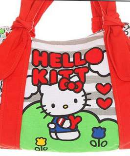 HELLO KITTY~ GRAY STRIPED RED KNOT SATCHEL TOTE BAG