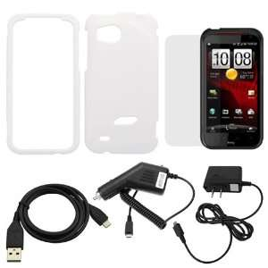 GTMax White Rubberized Hard Cover Case + LCD Screen