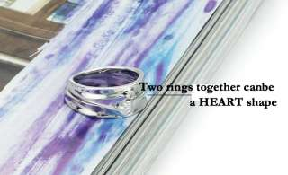 Heart White Gold Plated Promise Ring Set Couple Wedding Bands