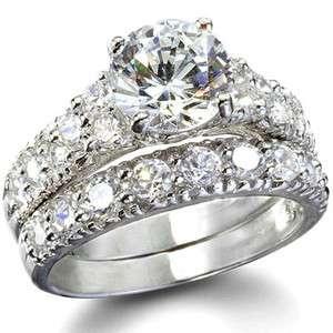 Engagement/Wedding Rings SET Vtg Style .925 Silver SZ 5