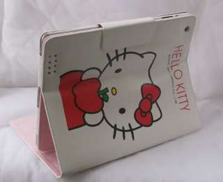 Hello Kitty leather case stand for apple iPad2 apple