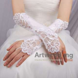 Personalized White Satin Lace Wedding Bridal Wrist Gloves with Pearls