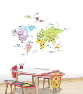 World Map WALL Decor STICKER Removable Adhesive Decal
