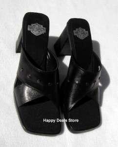 NEW HARLEY DAVIDSON STARLET BLACK CROSS SANDAL ANKLE BRACELET SIZE 8.5