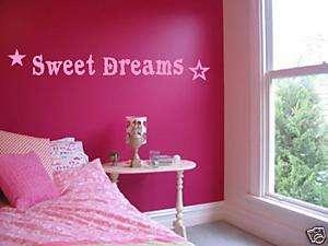 Sweet Dreams Girls Bedroom Nursery Wall Art Decal Vinyl