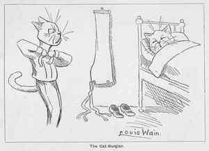 LOUIS WAIN CARTOON CATS. The Cat Burglar. c.1917