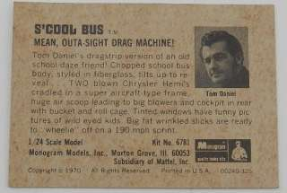 1970 MONOGRAM SCHOOL SCOOL BUS DRAG CARD HOT ROD SHOW TRUCK MODEL KIT