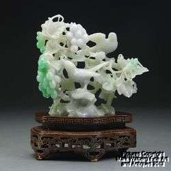 Fine Chinese Natural Jadeite Jade Carving, Grape Vine and Bird Design
