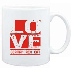 Mug White  LOVE German Rex  Cats