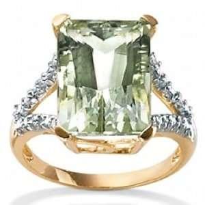 com Paris Jewelry 5 Carat Diamond Green Amethyst 10k Gold Ring Paris
