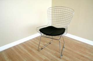 MODERN CAFE STEEL WIRE MESH CHAIR SILVER CHROME BERTOIA STYLE BLACK