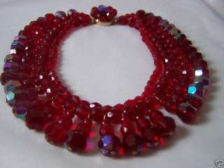 VINTAGE RUBY RED GLASS CRYSTAL NECKLACE