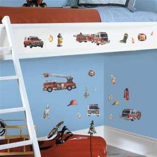 FIRE BRIGADE Ladder Trucks 22 pc Wall Decals Kids Stickers Dalmation
