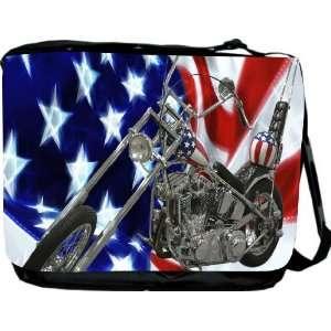American Flag Harley Davidson Messenger Bag   Book Bag
