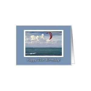 Kite surfing   Happy 21st Birthday Card: Toys & Games