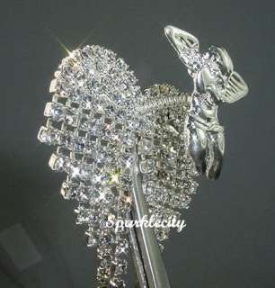 3D ANGEL HEART PIN BROOCH with SWAROVSKI CRYSTALS Silver