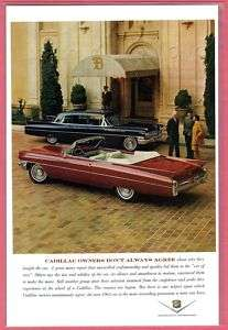 1963 CADILLAC COUPE DEVILLE RED CONVERTIBLE 2 DOOR AD