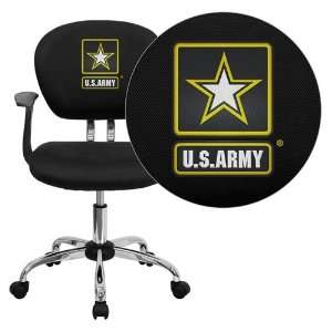 Flash Furniture United States Army Embroidered Black Mesh