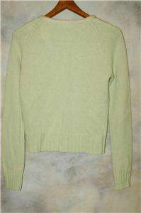 Anthropologie Sleeping On Snow Lt Green Wool Cashmere Sweater Cardigan