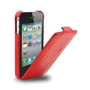 (Red Croc) Mivizu Sleek Verizon iPhone 4 genuine leather