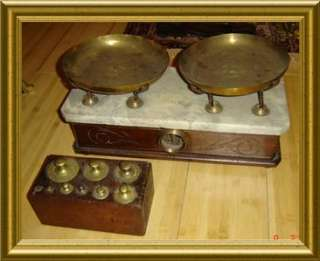Antique Apothecary Pharmacy Balance Scale Brass Weights |