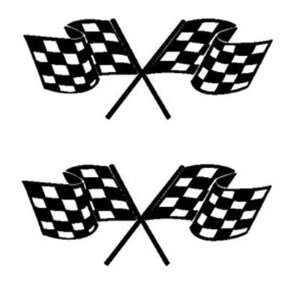 TWO CROSSED RACING FLAGS Vinyl Stickers/Decals