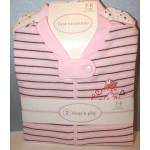 Set of 2 Baby Girl Sleepn Play Pajamas Pink Size 3 6 Mo